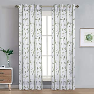 NICETOWN Sheer Curtains 95 inches Long Forest Tree Branch Birds Pattern Design Voile Curtains with Grommet Top for Living Room/Large Glass Sliding Door/Porch (1 Pair = 104 inches W, Green Tree)
