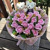 CPFYZH Niedliche Plüschbär Puppe Spielzeug Seife Rose Bouquet Hochzeitsgeschenk für...