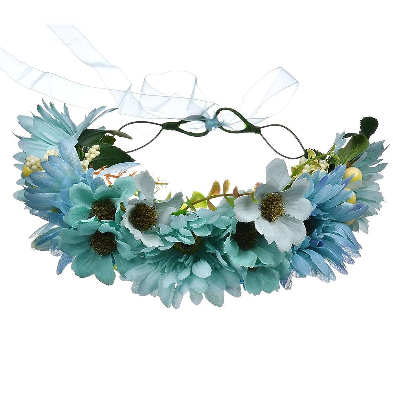 雇用者近々苦行1st market 自由奔放な菊の花輪ヘッドバンドヘッドバンド絶妙なユリの花ヘッドドレスビーチ写真の装飾女性の花輪ヘッドバンドヘアアクセサリーブルー耐久性と便利