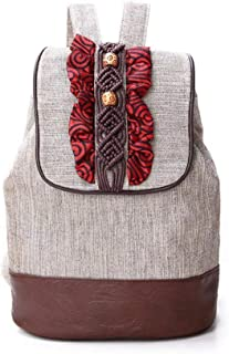 Chinese retro style women canvas backpack ethnic backpacks drawstring backpack girl shoulder bags
