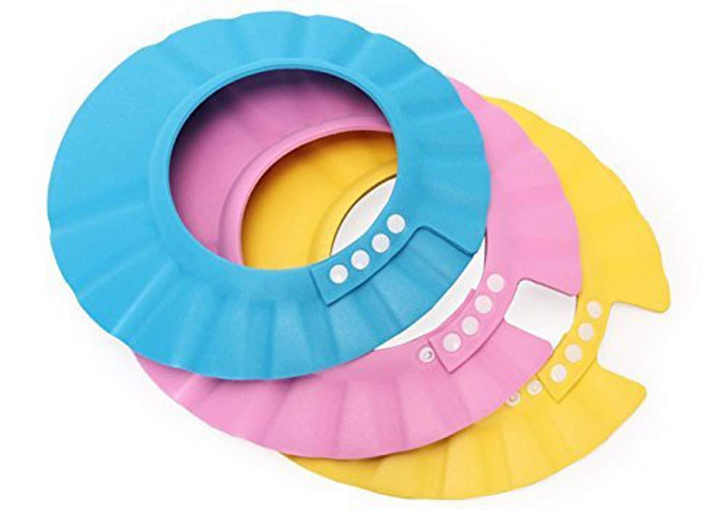 3pcs Soft Adjustable Shampoo Shower Cap Kids Bathing Protection Plastic Bath Hat Visor Cap for Toddler Baby Kids Children (Color Random, 27.5CM/10.8IN)