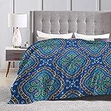 shenguang Manta de Lana con Estampado de Flores Azules Retro Estampadas cálidas y esponjosas Mantas de Invierno de Felpa para Cama sofá Silla Sala de Estar