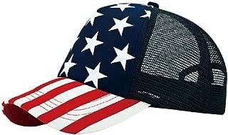 5 Panel Foam Mesh Trucker USA Patriotic Flag Snap Back Baseball Cap