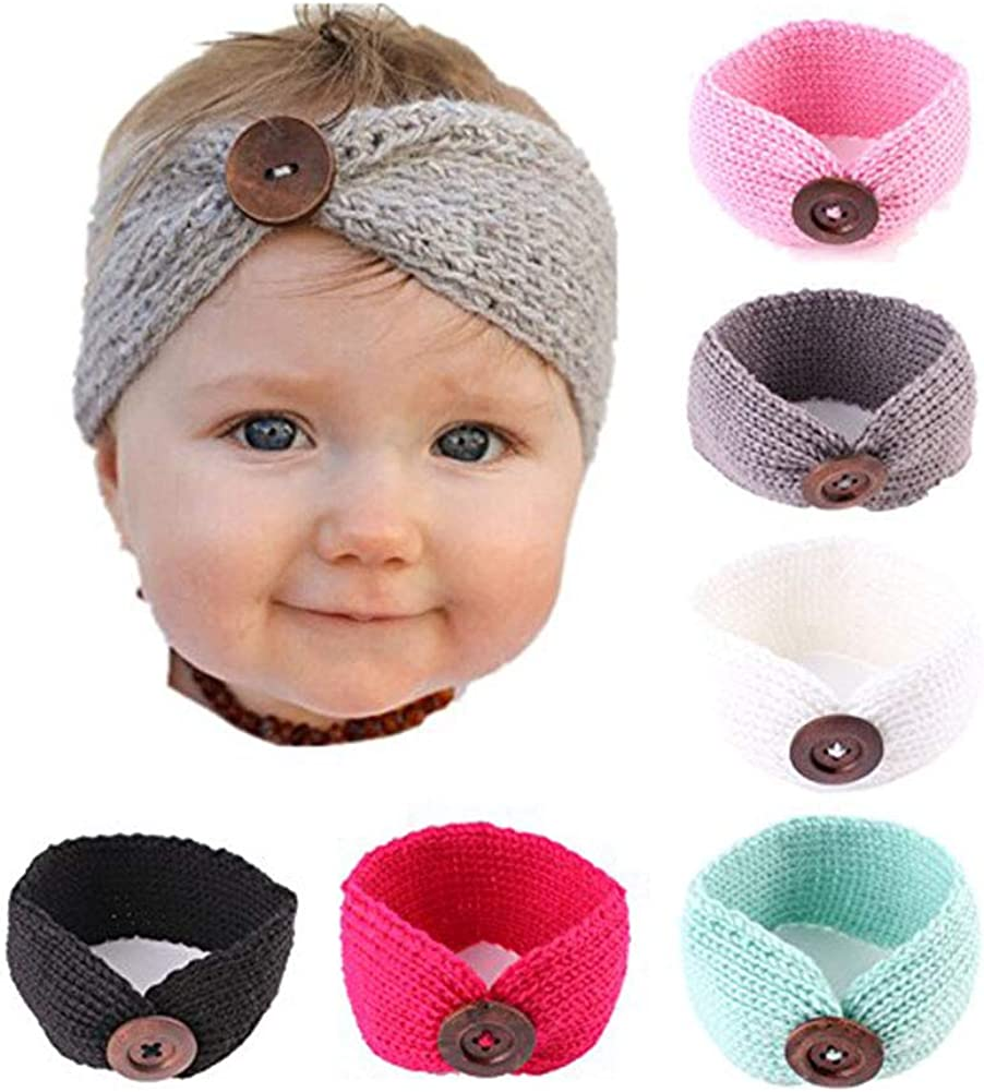Pinbo 6-Pack Baby Boy Girl Button Headbands Knit Head Wrap Knotted Hair Band
