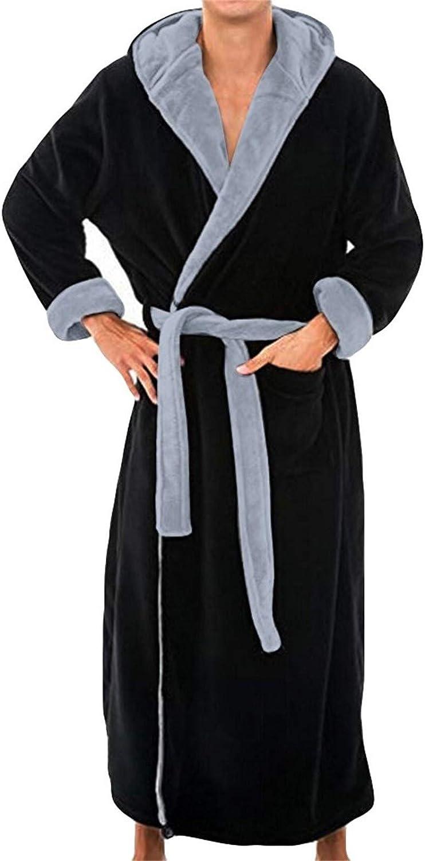 Thatso Men Hooded Fleece Bathrobe, Ultra Soft Warm Winter Flannel Spa Kimono Shawl Collar Robes, Cozy Big and Tall Bath Robe(S,Black)