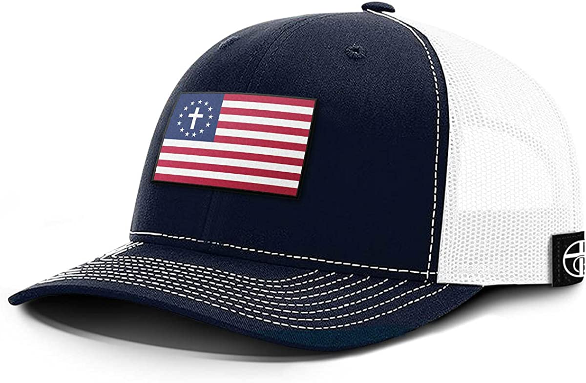 One True God One Nation Under God Patch Back Mesh Hat American Christians USA Flag Patched Baseball Cap
