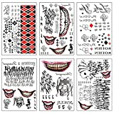 Joker Temporary Tattoos SS Tattoo Sticker HQ Water Transfer Decals Horror Face Body Tattoos Perfect for Halloween, Parties, Cosplay, Costume Accessories, Masquerade 6 Large Sheets