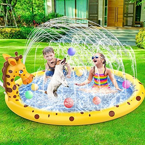 AOLUXLM Tappetino Gioco d'Acqua per Bambini Piscina Gonfiabile,170cm Tappetino Gioco d'Acqua,Giochi dacqua da Giardino Tappetino Spruzzi Bambini(Giraffa Che può spruzzare Acqua)
