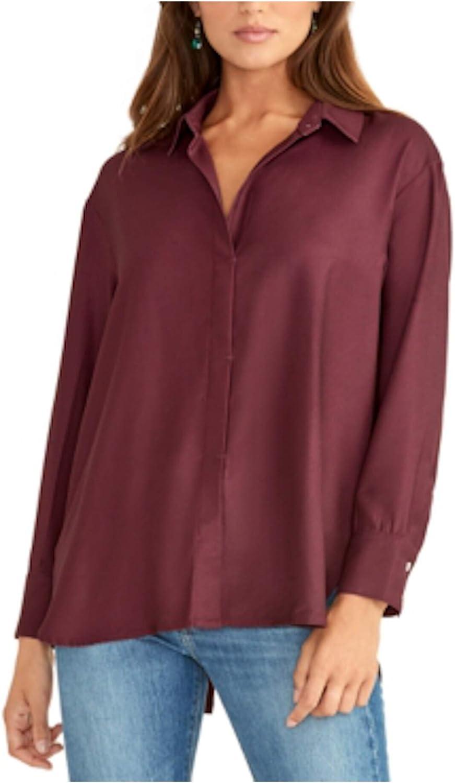 RACHEL ROY Womens Maroon Long Sleeve Collared Tunic Top Size XXL