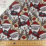 Stoff mit Schneemann, Weihnachtsmann und Rentier-Motiv,