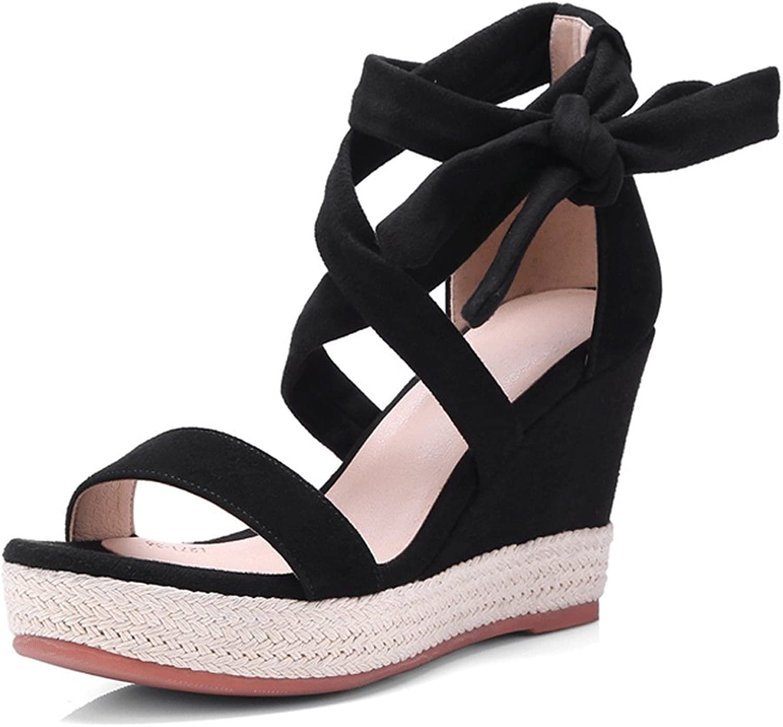 Sexy Black Lace-up Slope Sandals Summer Women's High Heels Waterproof Platform Open-toe Sandals ( color   Black , Size   35 )