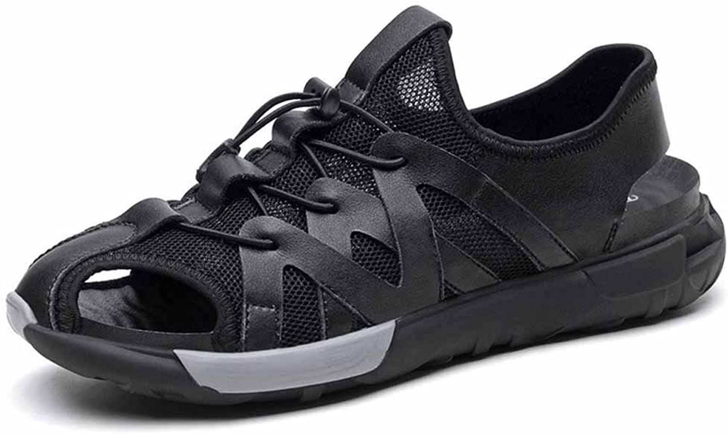 GLSHI Men Mesh Breathable Sandals Summer Hollow Beach shoes Low Top Closed Toe Sports Sandals Black
