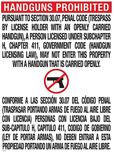 National Marker Corp. TOC-2 Texas Open Carry 30.07 Poster, 24 Inch X 18 Inch