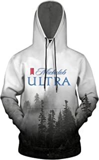 3D Printed Galaxy Fleece Hooded Sweatshirt for Men's Michelob-Ultra-Logos- Pullover Hoodie Sweater