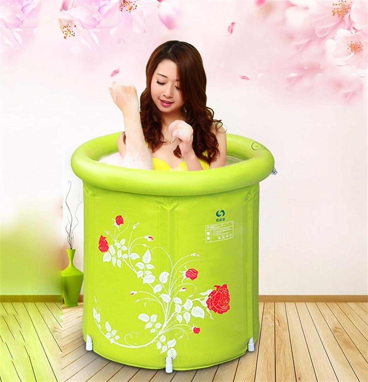 Folding Bathtub Folding Green Bath Barrel Plastic Bath Barrel Inflatable Bathtub Thicken Bathtub Adult Bath Barrel Bath Barrel (color   A)