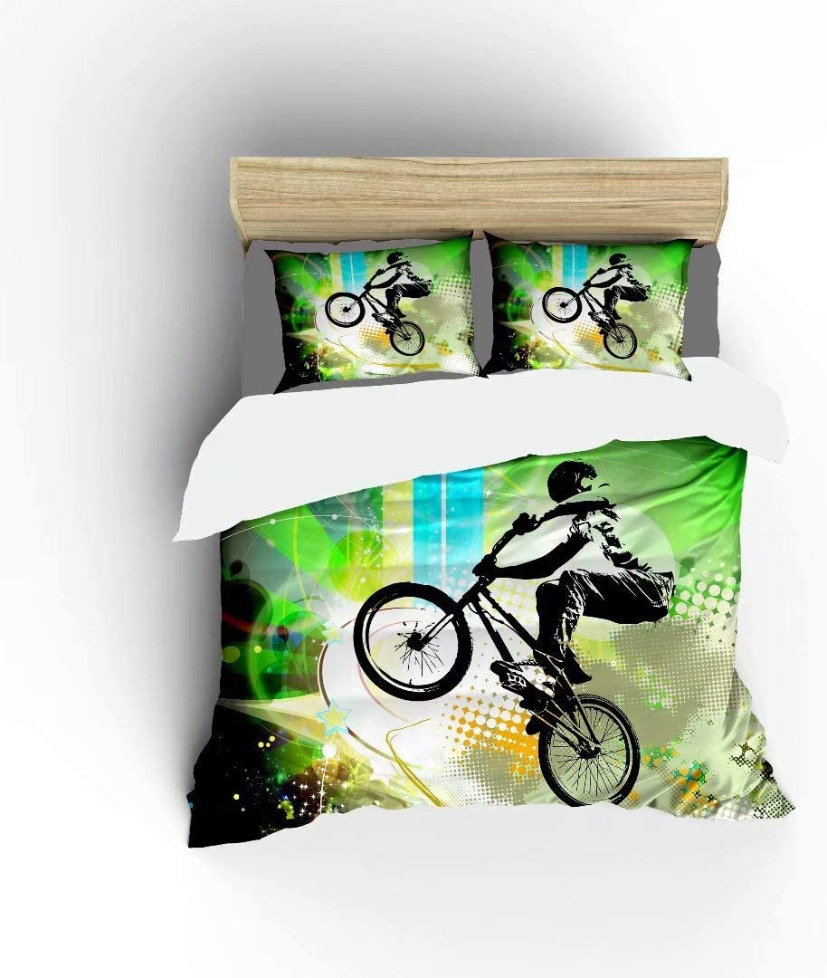 FlowerFish BMX Rider Ultra Soft Brushed Year-end gift Micr Bed Set Lightweight National products