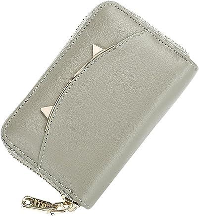 Heshe Women Leather Credit Card Case Holder Organizer Zip-Around Security Wallet (Gray)