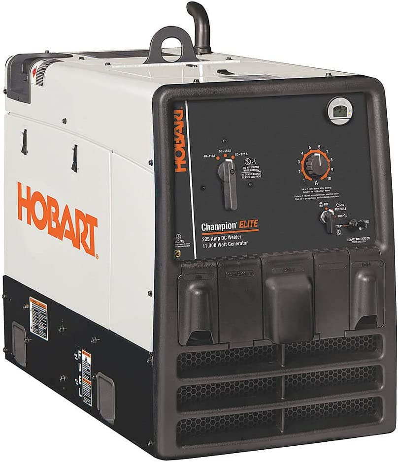 Hobart Champion Elite Arc Welder/Generator with 725CC Kohler Gas Engine and Electric Start - 40-225 Amp DC Output, 11,000 Watt AC Power, Model Number 500562