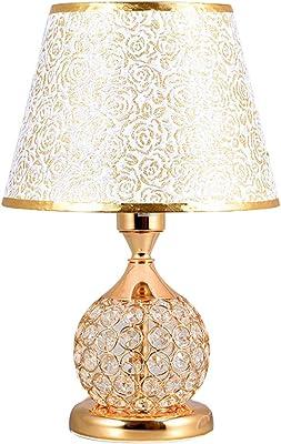 LYP-Leuchten Europäische K9 Kristall Dekoration Tischlampe für Wohnzimmer Schlafzimmer Studie Schreibtischlampe mit E27 Taste Schalter (ohne lampe) für Büro, Zuhause, Studium (Farbe : Gold)