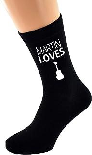 PERSONALISED NAME Loves Playing Guitar Image printed Mens Black Cotton Socks
