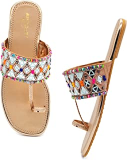 Fashionable Girl's & Women's Slip on Embroidered Ethnic Flat Sandals (Sultan, numeric_5) UK Size 5