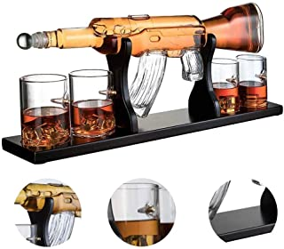 AUZZO HOME White Wine Decanter, 1000 ML AK47 Big Pistol Whisky Decanter Set with 4 Bullet Cup for Vodka Rum Wine Tequila Brandy Glass Set- Wooden Base and Safe Package