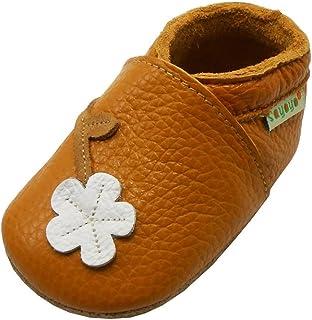 SAYOYO Fleur de Prunier Chaussures de bébé en Cuir Souple Chaussures Semelle Douce(12-18 Mois,L Orange) 21/22