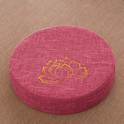 QYDF Large round futon cushion, cotton and linen digester floor cushion household tatami balcony bay window seat cushions, detachable,V1,Diameter*50cm[thick*10cm]