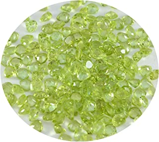 Joyas Plata 1PC Natural Green Peridot Faceted 4X4 mm Heart Shape awesome Quality Gems JP- STPERFCHE-4X4-us