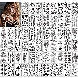 Qpout Tatuajes temporales para adultos Mujeres Hombres Niños (60 hojas), Impermeables Tatuajes negros Cara tribal Brazo Manga Cuello Tatuajes de muñeca Tótem Flor Mariposa Pluma de tiburón