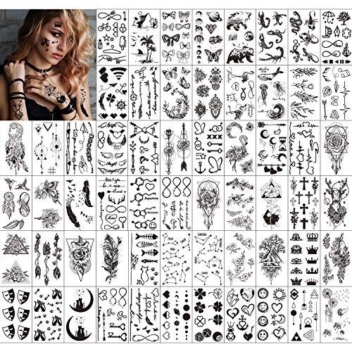 Qpout Temporäre Tattoos für Erwachsene Frauen Männer Kinder (60 Blatt), wasserdichte schwarze Tattoos Tribal Gesicht Arm Ärmel Hals Handgelenk Tattoos Totem Blume Schmetterling Haifeder