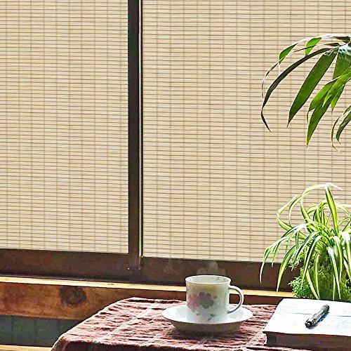 竹柄窓ガラスフィルム窓シート目隠しシート装飾再利用可能無接着剤静電ペースト断熱シート(90x200cm)