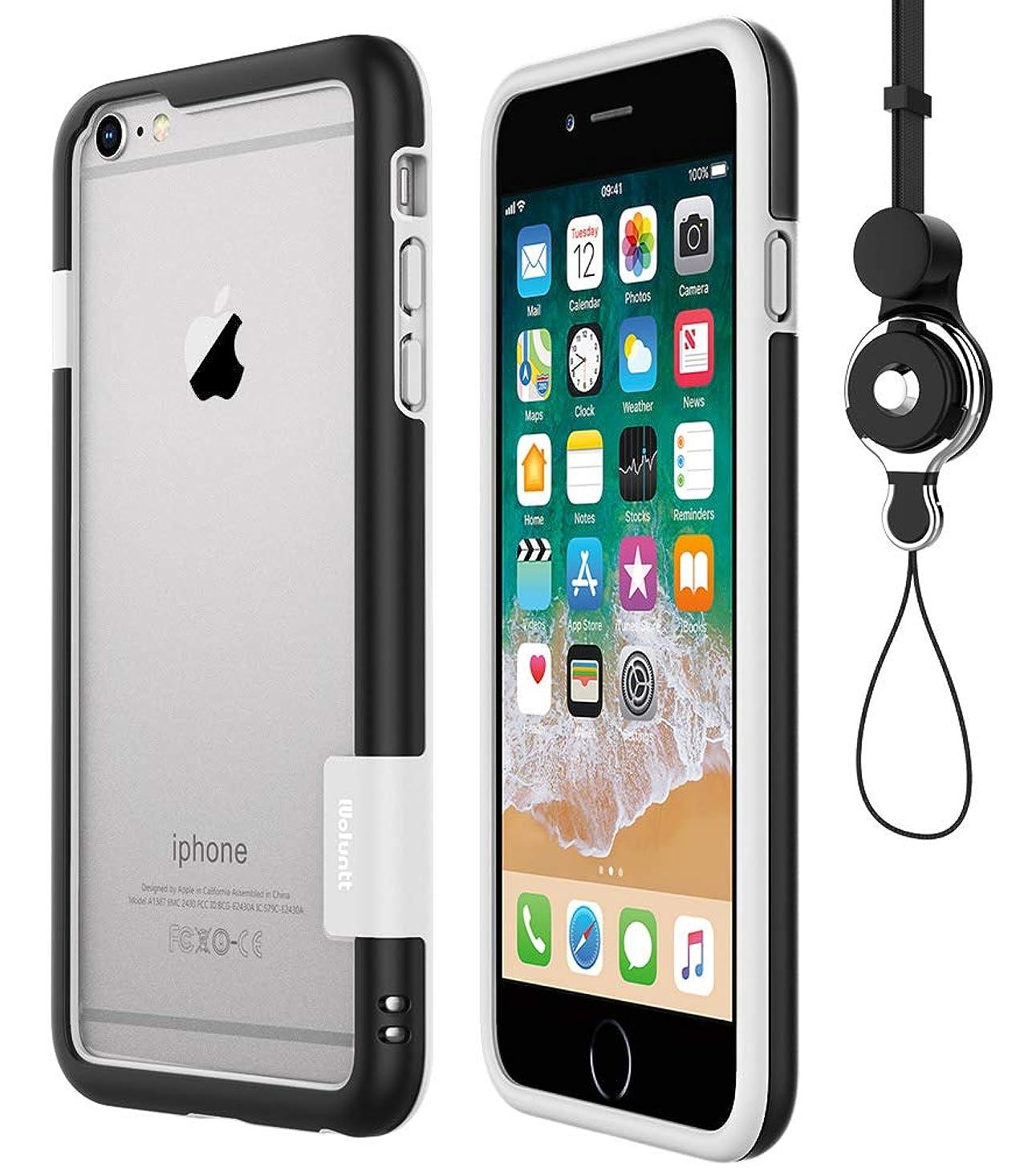誓約誰キャプション[WOEXET] iPhone 6/iphone 6s用バンパーとストラップセット ストラップ付きケース カラビナ 落下防止 モバイル 携帯ストラップ ネックストラップ スマホ用ストラップ ブラック