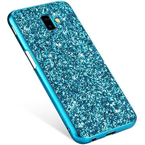 Uposao Compatibile con Samsung Galaxy J6 Plus 2018 Custodia Brillante Scintilla Bling Lucido Glitter Strass Cover Custodia Trasparente Morbida Silicone Sottile TPU Protettiva Case,Blu