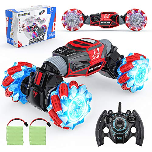 NBPOWER RC Car, Off Road Rc Car 1:16 Scale Remote Control Crawler, 4WD Transform 20 Km h RC Stunt Cars with 2 Rechargeable Batteries RC Drift Car for Boys and Teens.