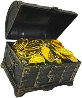 IPOTCH Kids Pirate Treasure Chest Toy Box with Lock for Party Favors Props Decoration/Kids Storage Treasure Chest