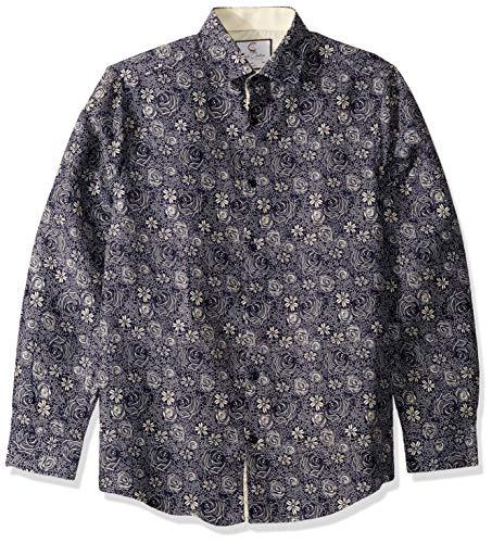 Azaro Uomo - Camisa de Manga Larga para Hombre con Botones, Combo Crema Gris, XX-Large