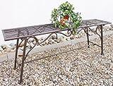 San Marco Gartenbank Wetterfest ohne Rückenlehne aus Metall Braun CUCCIU-XL 120cm Bank Metallbank Sitzbank Garten Rost-Optik