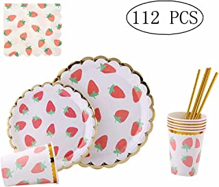 112 Piece Disposable Dinnerware Set,Plates, Cups, Straws & Napkins: 20 Dinner Plates, 20 Dessert Plates, 20 Cups, 20 Straws & 32 Napkins for Party(Strawberry)