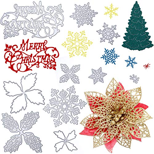 13 Pieces Merry Christmas Metal Cutting Dies Snowflake Christmas Tree Die Cuts Christmas DIY Stencil Template for Embossing Card Making Photo Decorative Paper Scrapbooking