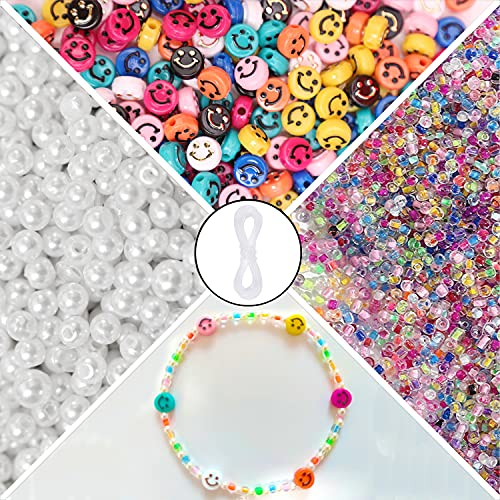 Smiley Face Beads, 1200 Pcs Beads for Bracelets Making and Jewelry Making, Included Smiley Beads, Pearl Beads, Crystal Beads and Elastic String