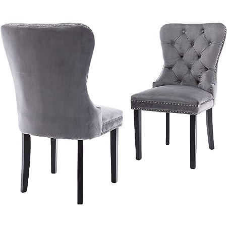 2x Crushed Velvet Buttoned Upholstery Studded Dining Chairs Chrome Ring Knocker