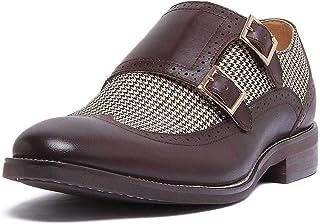 Justin Reece Chaussures à boucle en cuir avec effet tweed et semelle intérieure en cuir Marron 40