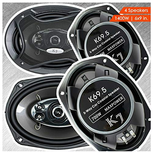 4 Audiotek 6 x 9 Inch Car Audio Speakers - 1400Watts of Power For 2 Pair, 700 Watts Each , Full Range, 5-Way, Sold in 2 Pairs 6' x 9'