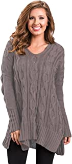 Newbestyle Women's Loose Oversize Chunky Knit Jumper Pullover Asymmetric Hem Sweater Top S-2XL