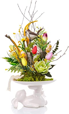 """28 Pcs Multicolor Tulips Artificial Flowers Faux Tulip Stems Real Feel PU Tulips for Easter Spring Wreath Wedding Bouquet Centerpiece Floral Arrangement Cemetery Table Décor 14"""" Tall"""