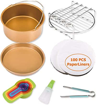 Pizza Pan Cupcake Pan Cake Barrel Bread Shelt Dish Plate Clip 8 inch, 10 pcs Steel Metal Holder Moonter 8 inch 5.2QT-5.8QT Air Fryer Accessories with Silicone Mat Steel Skewer Rack