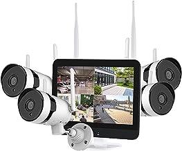 Daseey Sistema de câmera de segurança sem fio 3MP com monitor de 12 polegadas, de vídeo de 8 canais com 4pcs 3MP externo i...