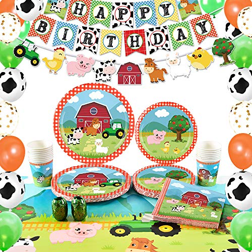 WERNNSAI Farm Birthday Party Supplies - Barnyard Animals Party Decorations for Kids Birthday Banner Balloons Tablecloth Plates Cups Napkins Serves 16 Guests 89 PCS