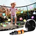 Trampoline Sprinkler 39FT Waterpark Outdoor Water Sprinklers Toy Accessories for Kids Fun Summer Water Park Backyard Yard Game for Boy Girl Outside Play Activities with 100 Water Balloons, 25 Zip Ties